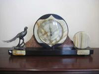 Art Deco Marble and Onyx Mantle Clock