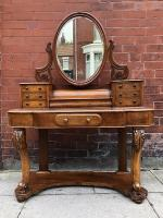 Mahogany Walnut Dressing Table With Mirror