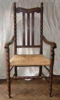 High back oak armchair