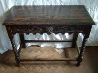 Solid oak carved side table