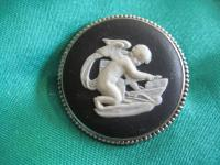Wedgwood black silver brooch