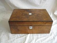 Burr walnut writing box