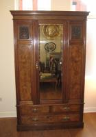 Burr Walnut single wardrobe