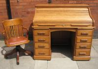Edwardian oak roll top desk with chair C1900